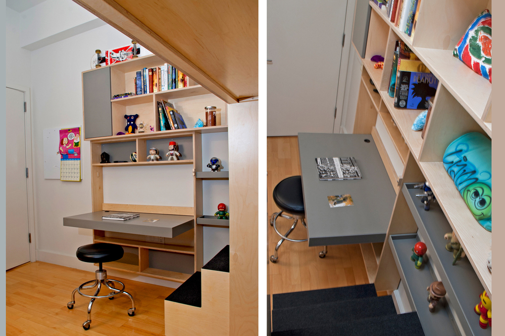 hanging desk and storage