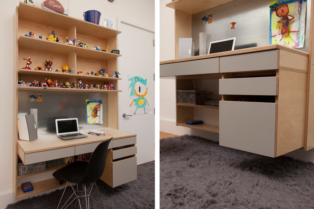 floating desk with storage drawers for kids