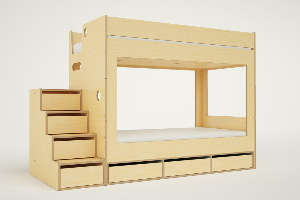 cabin bunk bed with stairs casa kids. Black Bedroom Furniture Sets. Home Design Ideas
