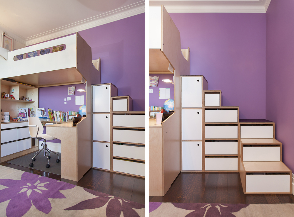 extra storage space in children's room. Custom furniture by Casa Kids.