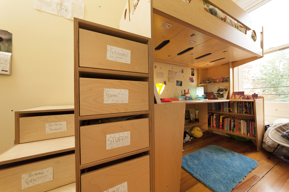 Kids loft bed with desk underneath. Furniture made in Brooklyn