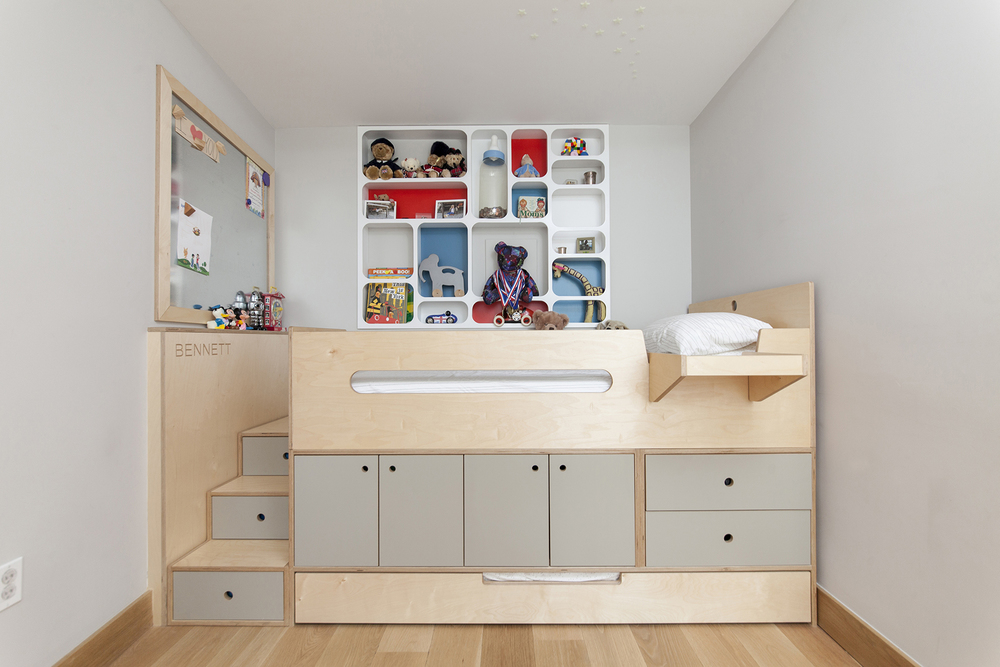 Low VOC Plywood Furniture. Natural And Gray Finish