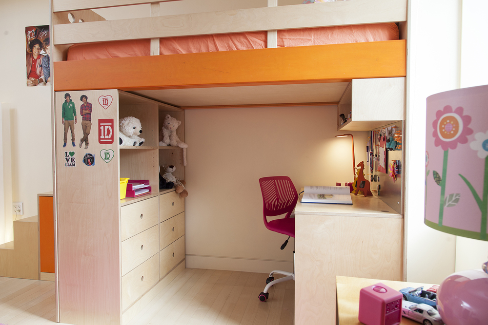 Casa Kids custom loft bed with desk. Low VOC furniture.