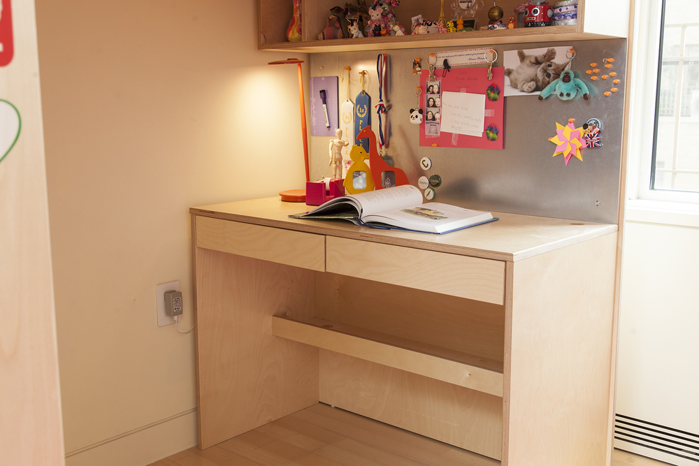 Casa kids green furniture. Custom loft bed with desk and magnetic board.