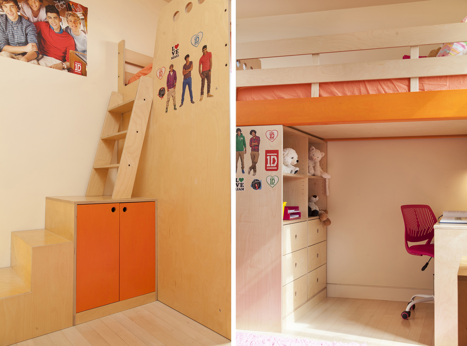 Casa Kids custom loft bed with stairs and ladder. Low VOC plywood furniture.