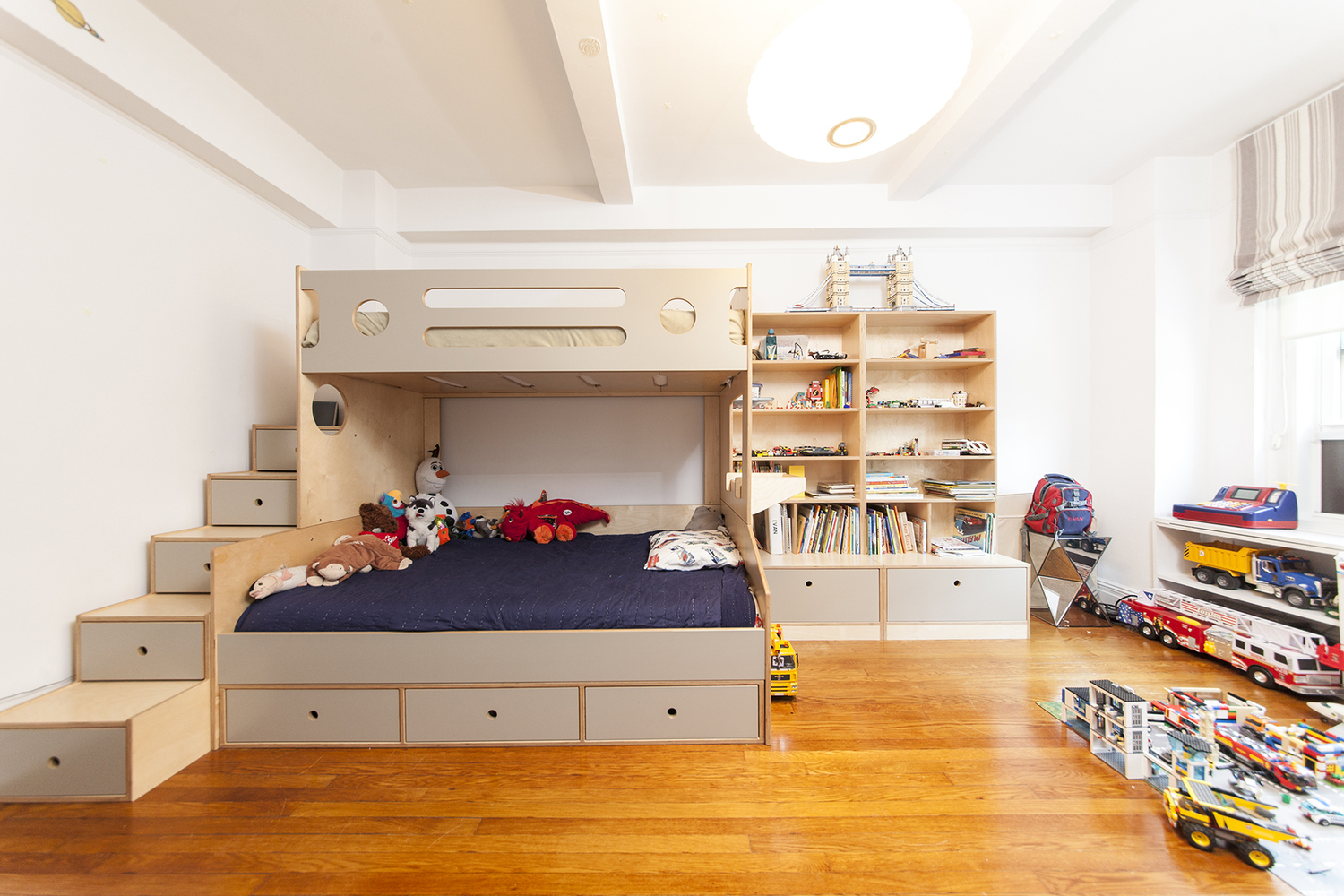 Casa Kids custom twin over full bunk bed. Low VOC plywood furniture.