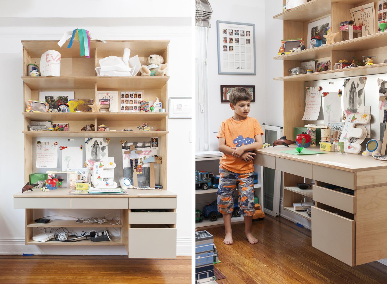 Casa Kids custom floating desk. Low VOC plywood furniture.