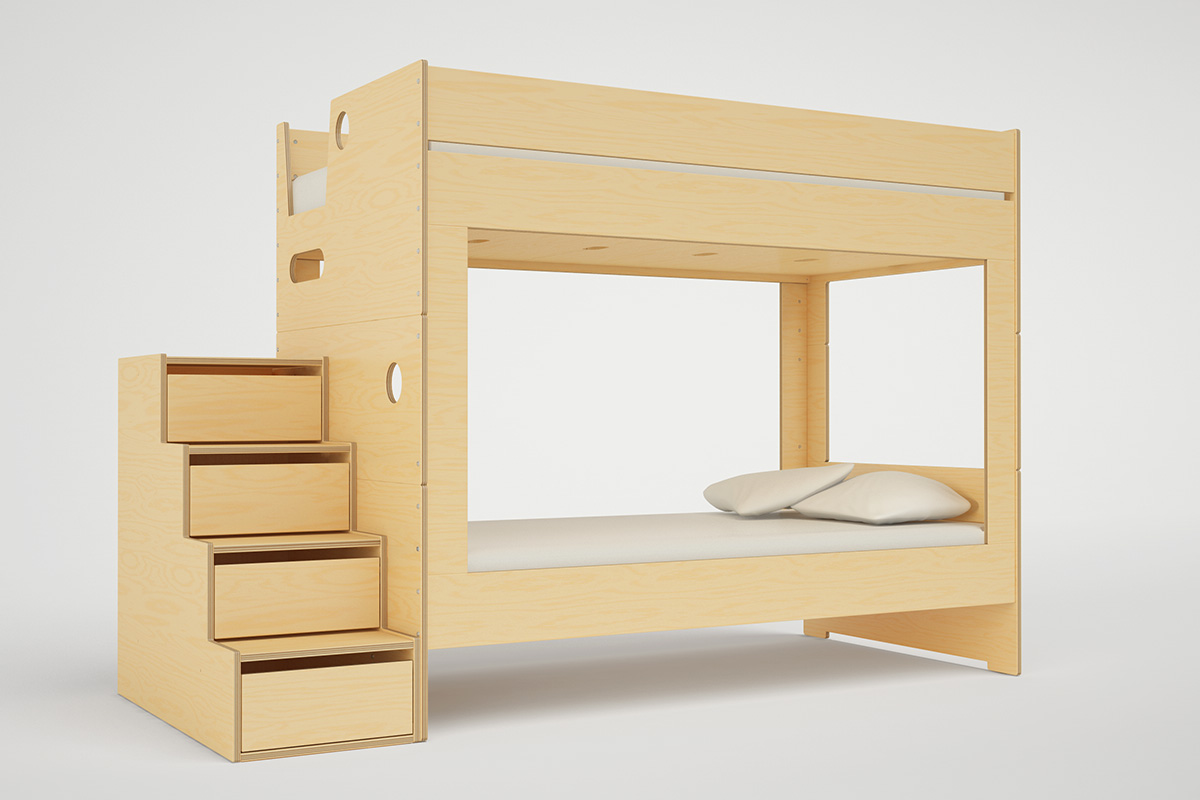 Casa Kids Cabin Bunk Bed With Stairs