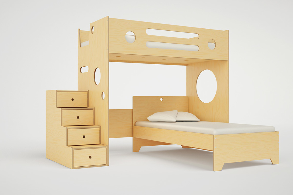 Marino L Shaped Bunk Bed Over Twin Casa Kids