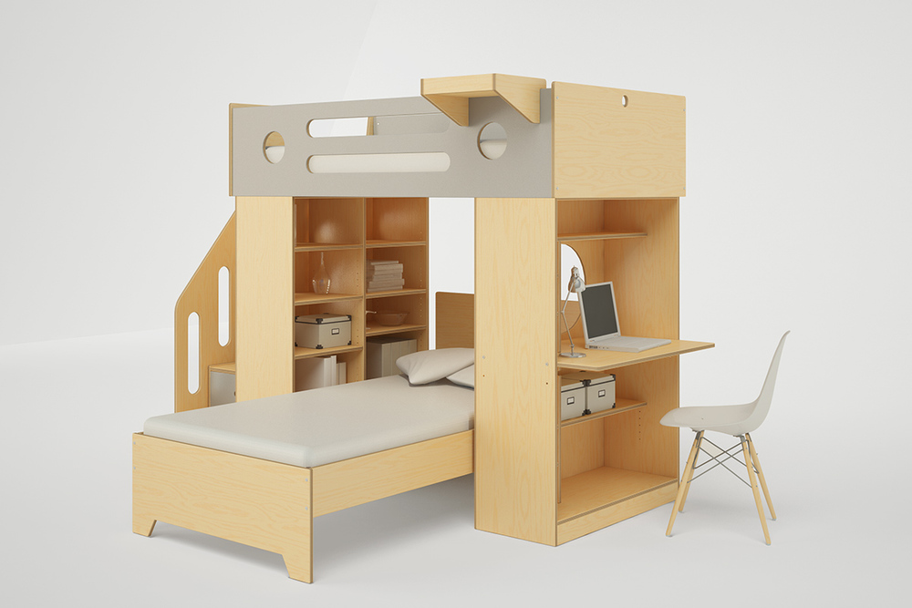 DUMBO L SHAPED LOFT BED WITH STAIRS