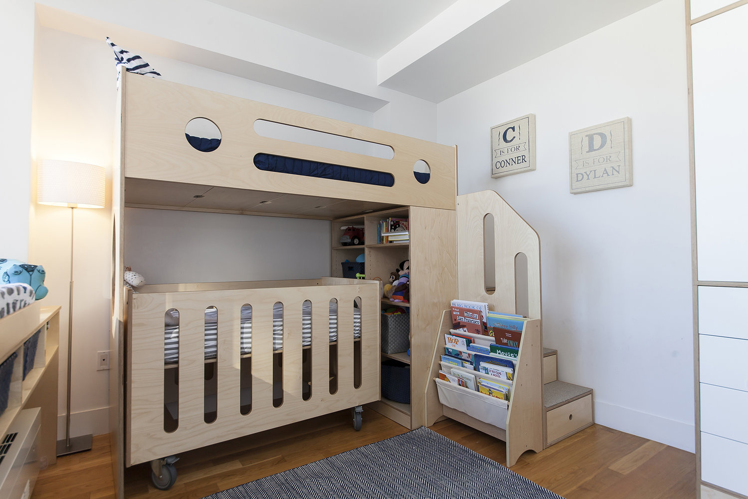 modern birch bunk bed and crib
