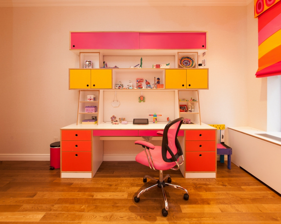 custom designer desk with storage for kids