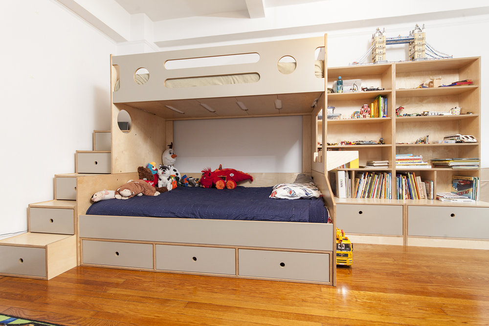 Storage drawers and shelves allow your child to stow toys safely and nearly continuous support beneath our bunk's mattress provides a better night's sleep.