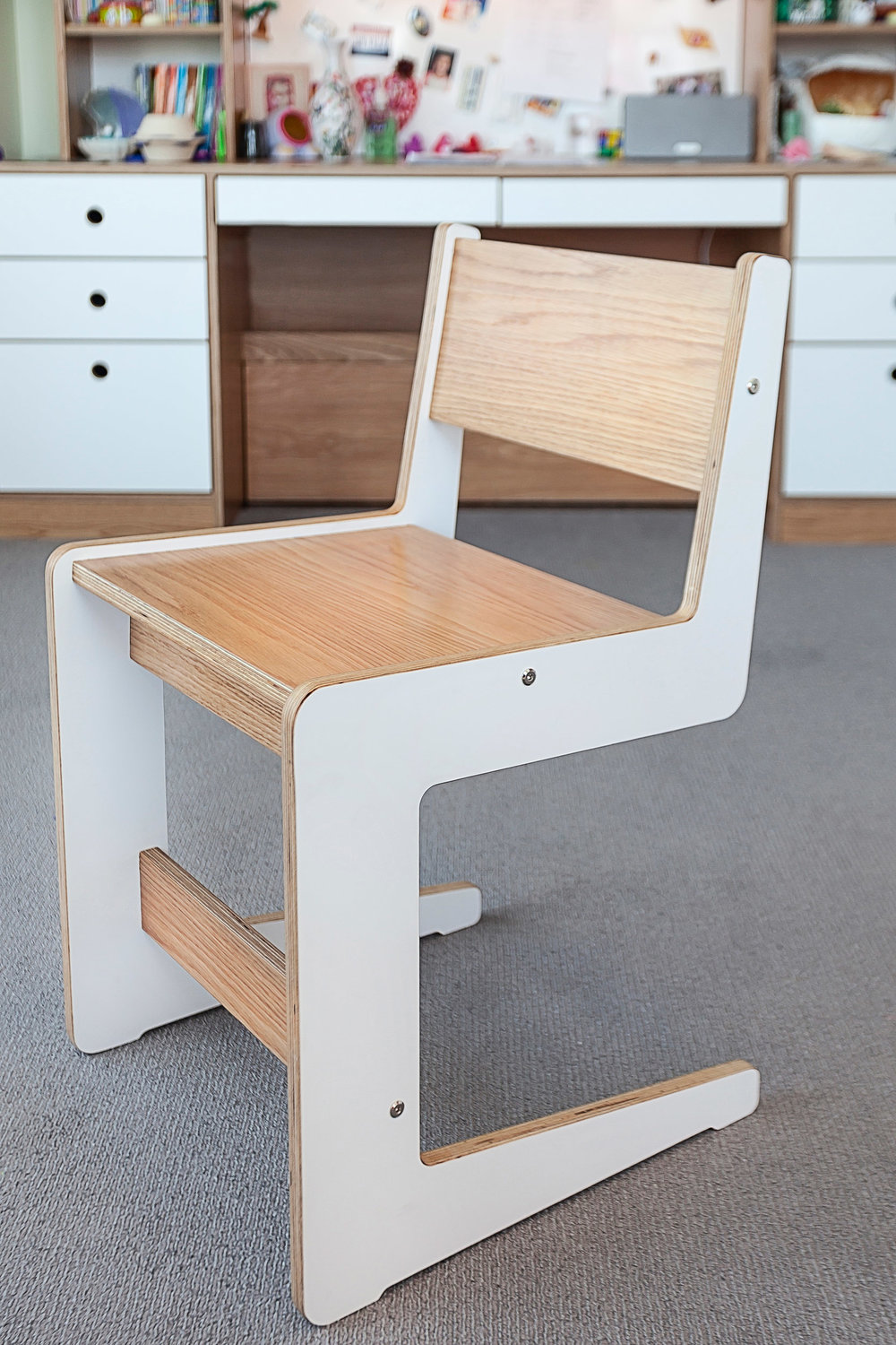 Custom Oak and White Chair