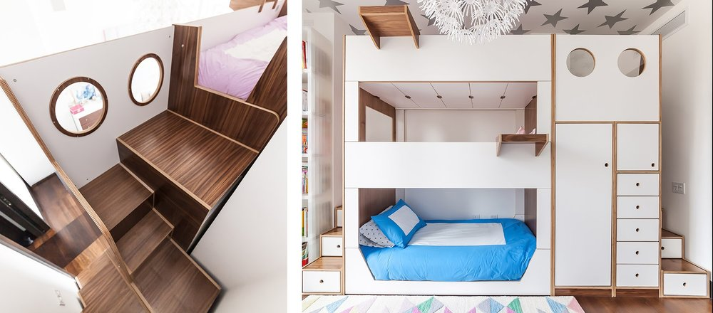 modern triple bunk bed kids