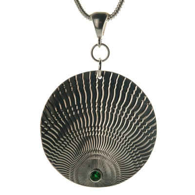 Circle Pendant with Green Garnet