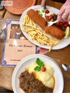 Comfort food at a Serb restaurant in London is very similar to Croatian food. I try to eat a little, and take the rest home.