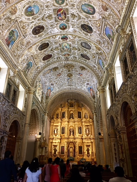 Santo Domingo church in the Center of Oaxaca impresses you with its shiny gold interior.
