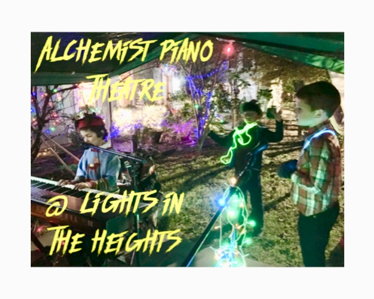 Alchemist Piano Theatre performs at Lights in the Heights every year. It's been 20 years at the same location, 701 Byrne on the lawn. APT kids play piano and sing. People partake in Christmas singalong. Loreta Kovacic plays and sings a few of her originals. There is a party going on and this spot is one of the best in the Heights. Santa Claus is coming to Lights in the Heights!