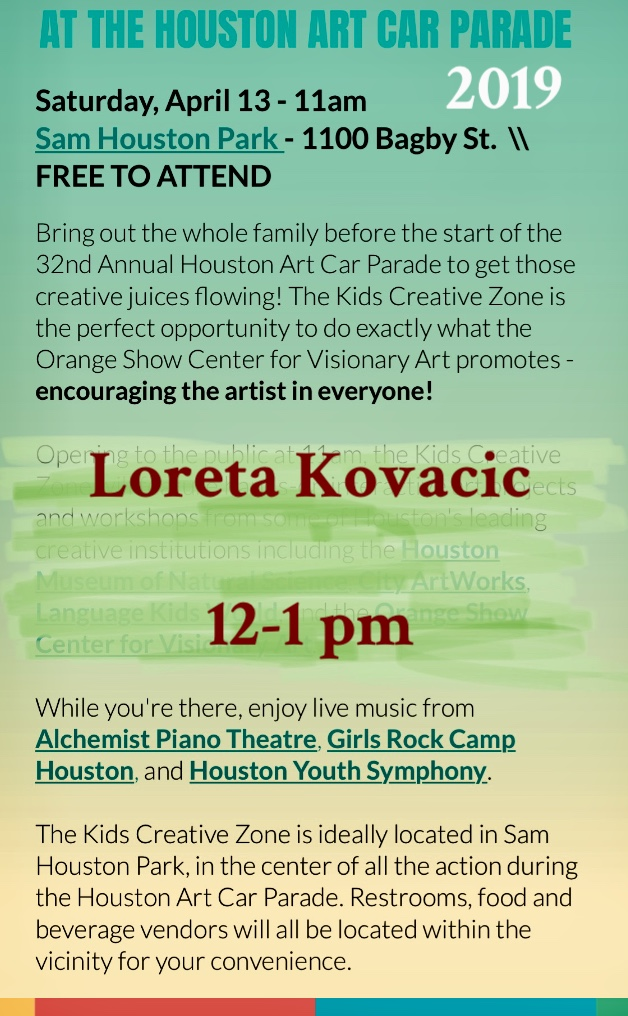 Loreta Kovacic and Alchemist Piano Theatre are performing at the ART CAR PARADE 2019. Loreta will be inviting you to join her on on stage. She will be performing original and cover songs with JOE PARANI on theremin and DOMINIQUE GERMAN on drums. Come and join her. Sing, improvise, join!