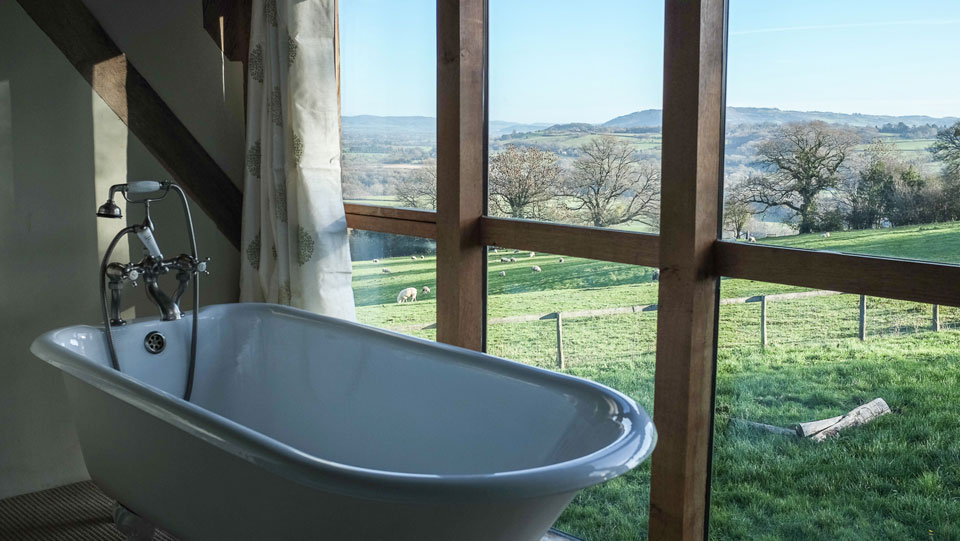 The master ensuite with views across the Wye valley
