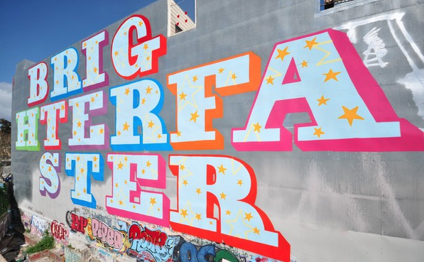 "My life in branding (""brighter faster""), as depicted by popular San Francisco mural art"