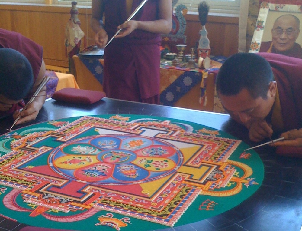 The breathtaking mandala the Tibetan Monks created during my time meditating with them