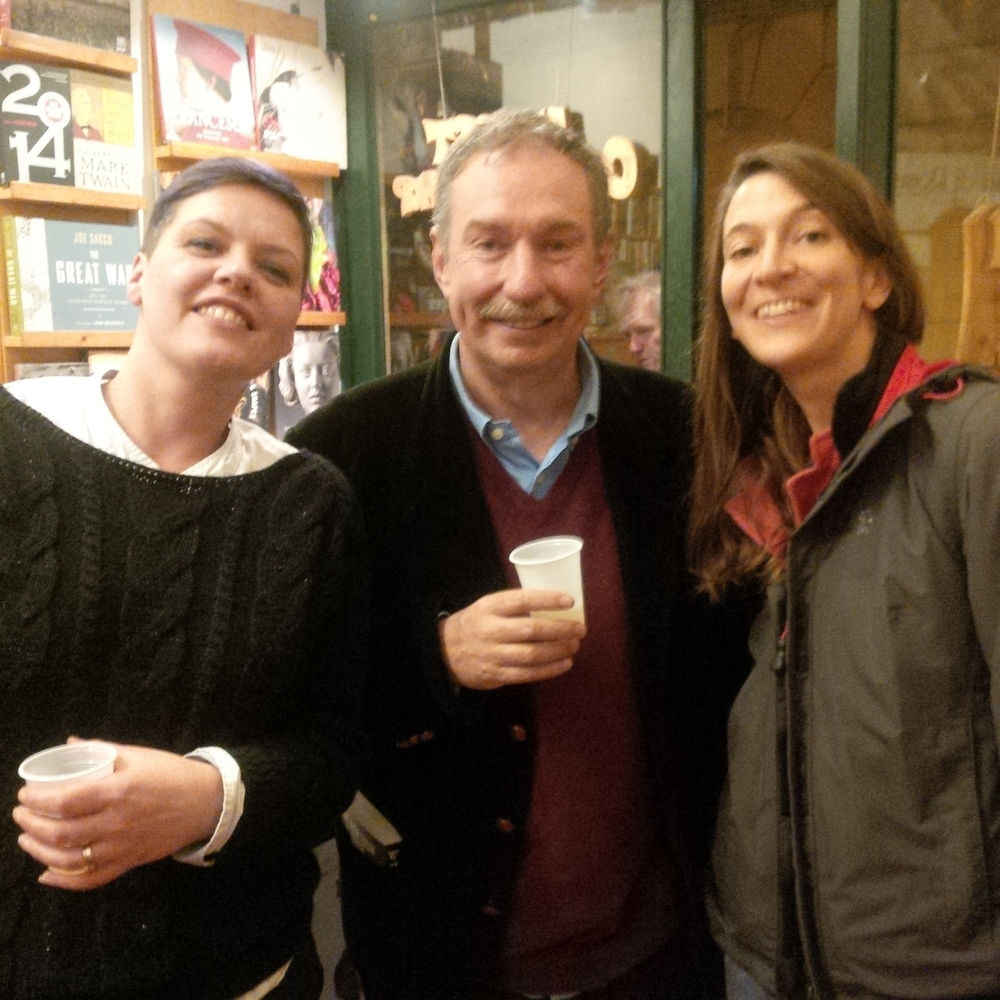 Charles Lambert with Anita Ross (Almost Corner Bookshop) and Valentina Parlato (Voland Edizioni).