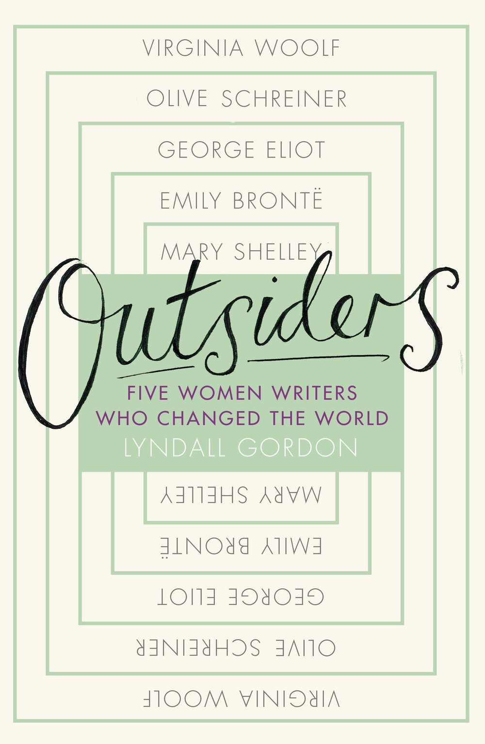 OUTSIDERS: FIVE WOMEN WRITERS WHO CHANGED THE WORLD Literary Biography, 336 pages  Virago, October 2017  Lyndall Gordon turns her insightful gaze to several extraordinary literary women who chose to live and create at the margins. In powerful chapters with titles like 'Prodigy', 'Spinster' and 'Visionary', she focuses on the connections between creativity and shadow in lives at their boldest moment – the lives of Mary Shelley, Emily Brontë, George Eliot, Olive Schreiner and Virginia Woolf.