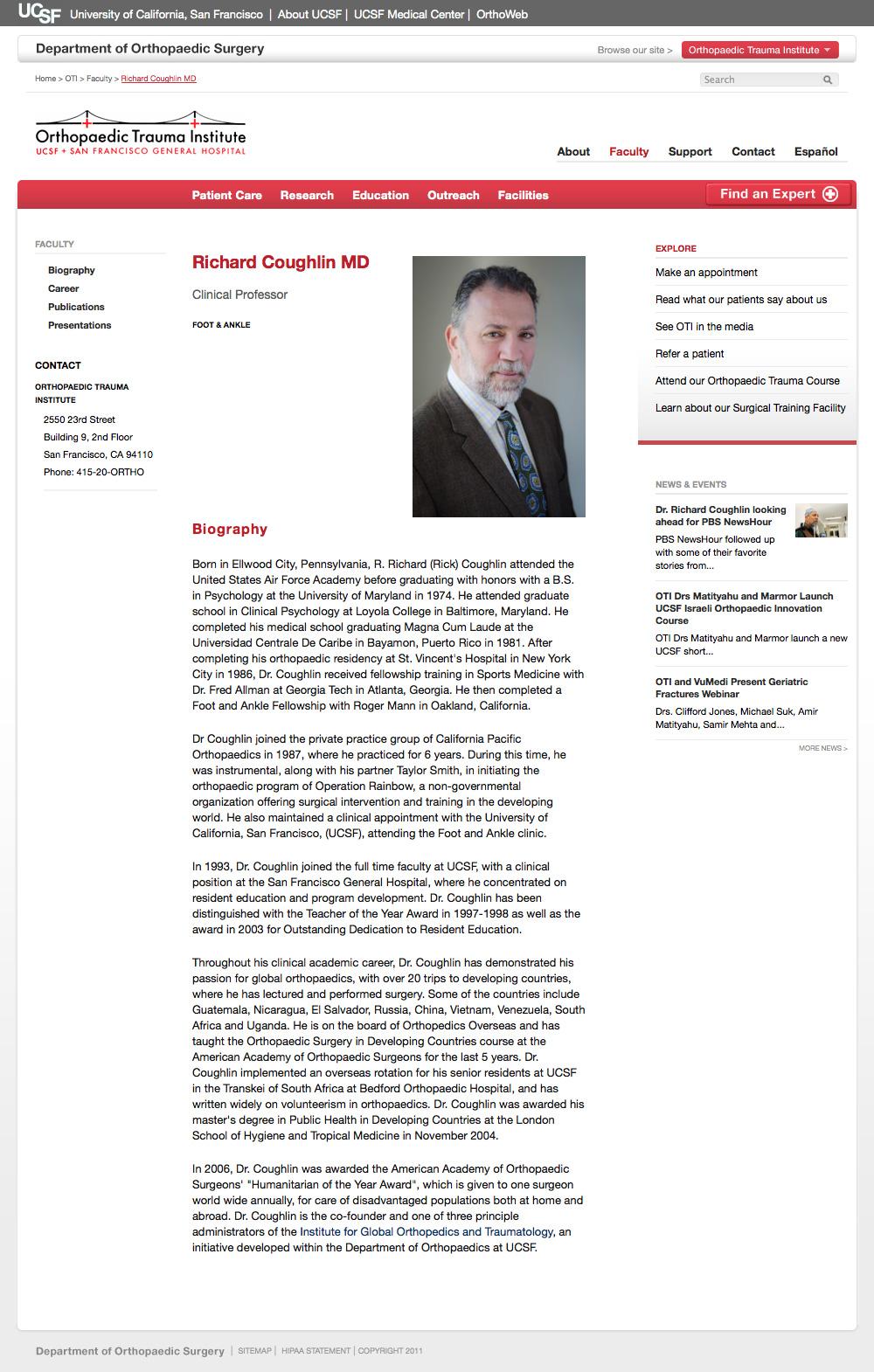 UCSF Dept of Orthopaedic Surgery, Website Design — Parker Moore Design