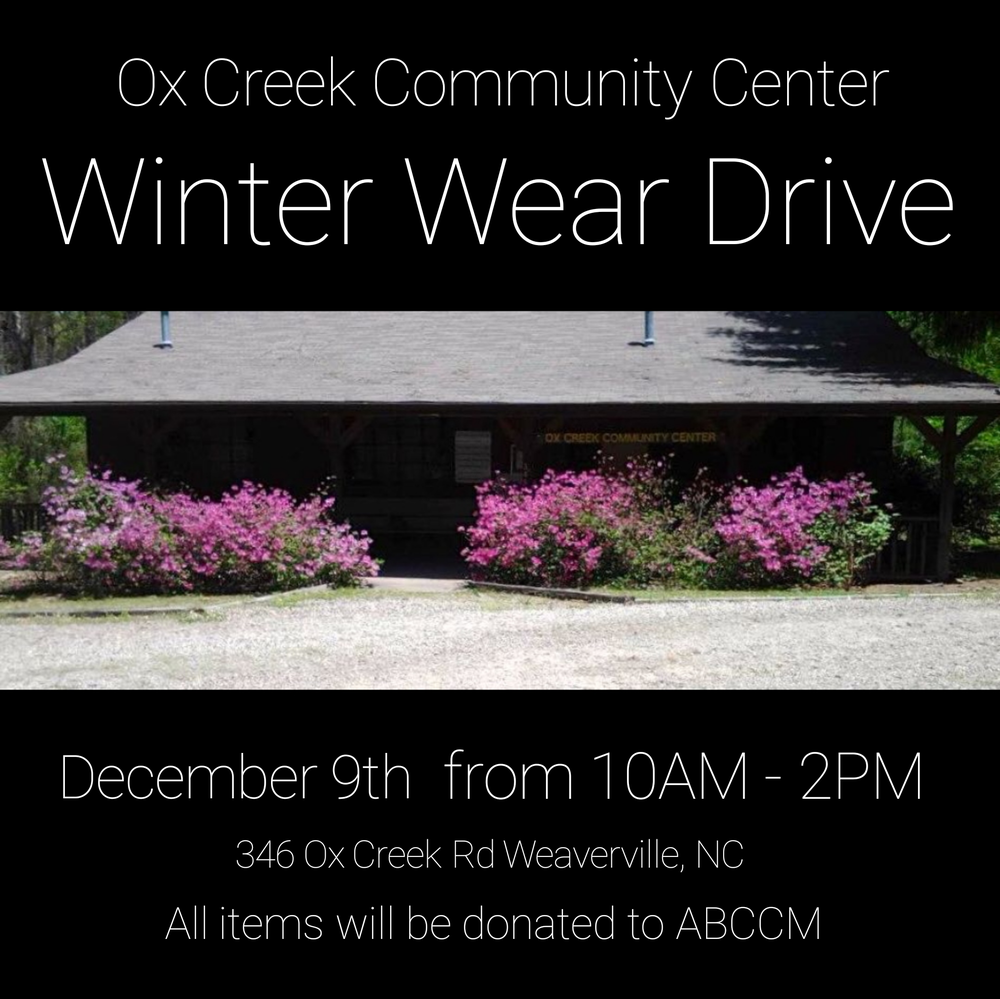 The Ox Creek Community Center will be accepting coats, jackets, hats, gloves for both children and adults.  We are grateful for their support!