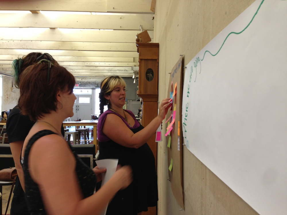 Lily, Julie and Heide work on the most most important things to be included in their space.
