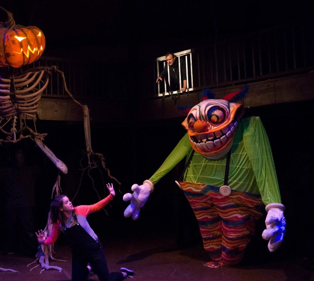 CLOWNY     Lead Puppeteer (Head, Body, Mouth ): Kaitee Tredway   Voice & Right Hand: Aubrey Clinedinst --Left Hand: Colby Rison  Photo by Richard Termine