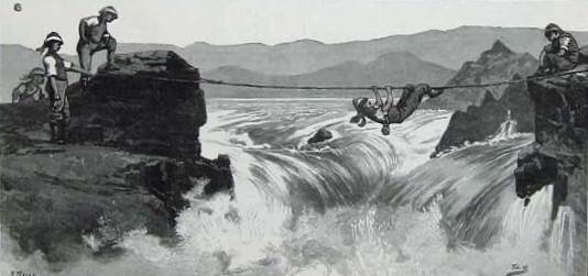 These two images of the Second Cataract shows the huge problems confronting the river column as they tried to haul their whaleboats up against the flow of the Nile. It's also a scene straight from my novel – from this vantage point Major Mayne watches his Canadian voyageur friend Charrière dive into the rapids to rescue a soldier who has fallen from the rope. Out of sight to the left is the place where Mayne and his fellow officers, and then Jack and Costas in the present-day, make an extraordinary discovery. This image and others like it are particularly precious because the Second Cataract was inundated by the floodwaters of the Aswan Dam in the 1960s, meaning that none of this is visible today.