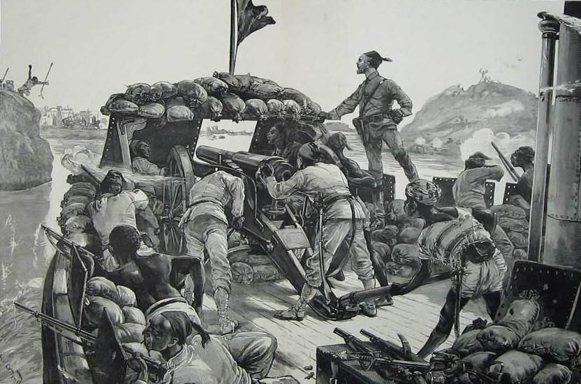 As the river steamers approached the final section of the Nile before Khartoum they came under increasing harassing fire from the Mahdist forces along the shoreline. This picture shows in almost photographic detail a nine-pounder gun and its crew in the bows of a steamer, with soldiers crouched alongside with their rifles at the ready. Remington rifles were used by the Egyptian army – the British troops used the superior Martini-Henry – and this picture is of particular interest as a reminder that a large part of the campaign against the Mahdi was fought by Egyptian troops and Sudanese irregulars, with not a single British soldier being visible here.