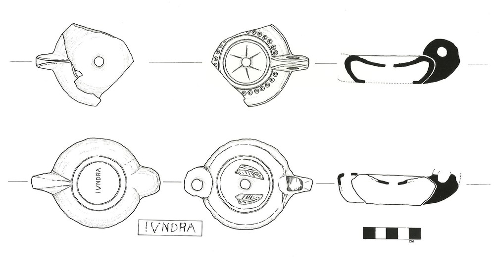 Two of the pottery oil lamps from the wreck, the lower one stamped IVNDRA (probably Iunius Draco) (drawing: David Gibbins).