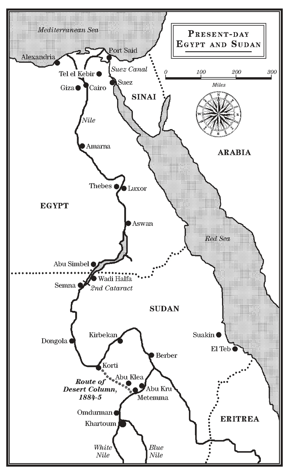 In this map you can see the short cut taken by the 'Desert Column' from Korti to Metemma, where they were meant to meet up both with the 'River Column' and the armoured steamers that had come down from Khartoum to take them upriver. In the event, the River Column never made it in time, and the Desert Column was stalled by the savage battle at Abu Klea and Abu Kru; the small force that was able to embark on the steamers for Khartoum arrived a day too late.