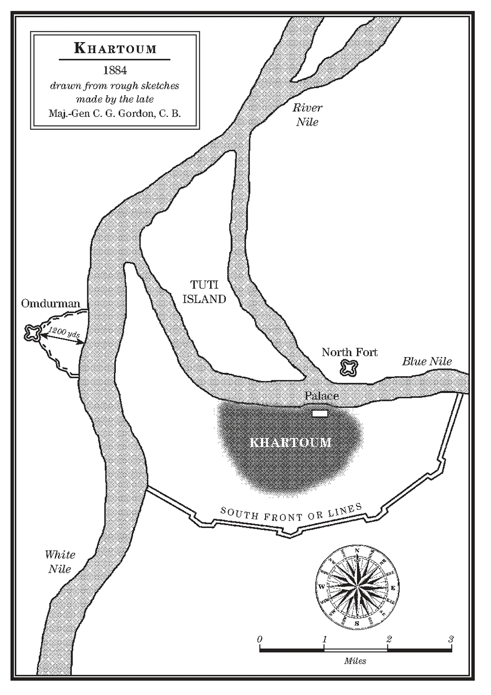 Key settings in my novel are the Governor's Palace on the south side of the Blue Nile and the North Fort on the opposite bank, to the east of Tuti Island. To the south you can see the defensive walls that Gordon attempted to strengthen, and on the west bank the fort of Omdurman where the main Mahdist force was encamped and where Kitchener fourteen years later exacted his terrible revenge for the murder of Gordon.