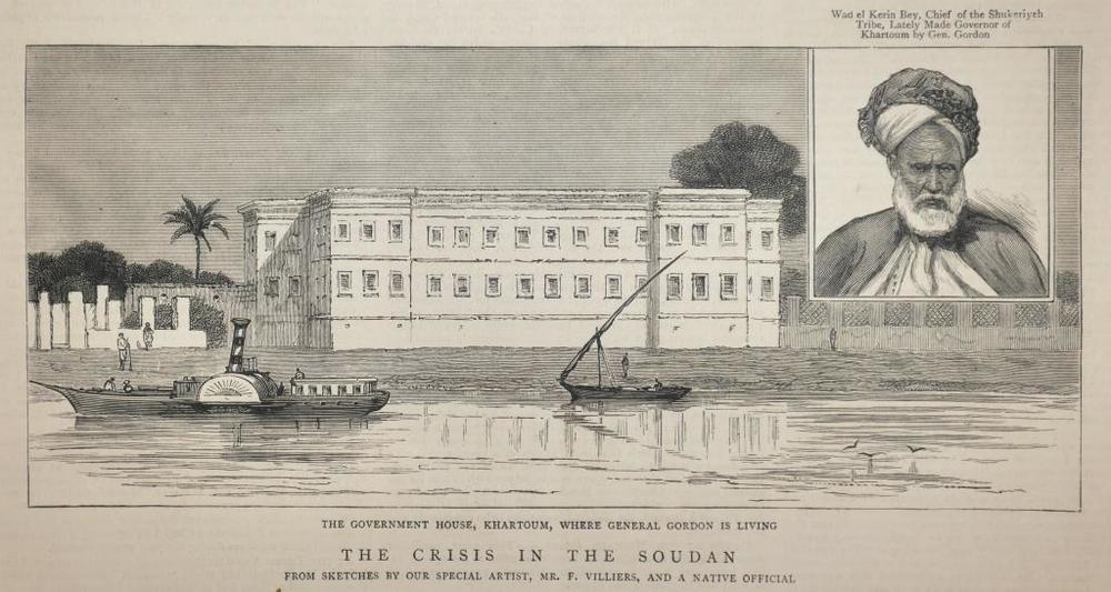 This engraving from The Graphic of 3 May 1884 gives a rare image of Government House, Khartoum - the Governor's Palace - as it looked during Gordon's occupation, including the entrance compound to the left and the muddy foreshore of the Nile at low water. The palace was used by the Mahdist forces during their years of occupation following the death of Gordon, and after the British reconquest in 1898 was demolished and replaced with a more lavish building.