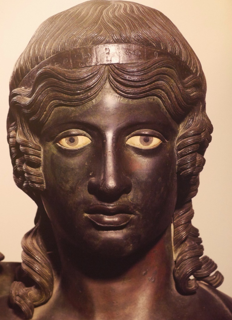 This bronze from the Villa of the Papyri at Herculaneum - a setting in my novel The Last Gospel - represents the idealised human form characteristic of Greek-style sculpture used as decorative art in gardens and courtyards.