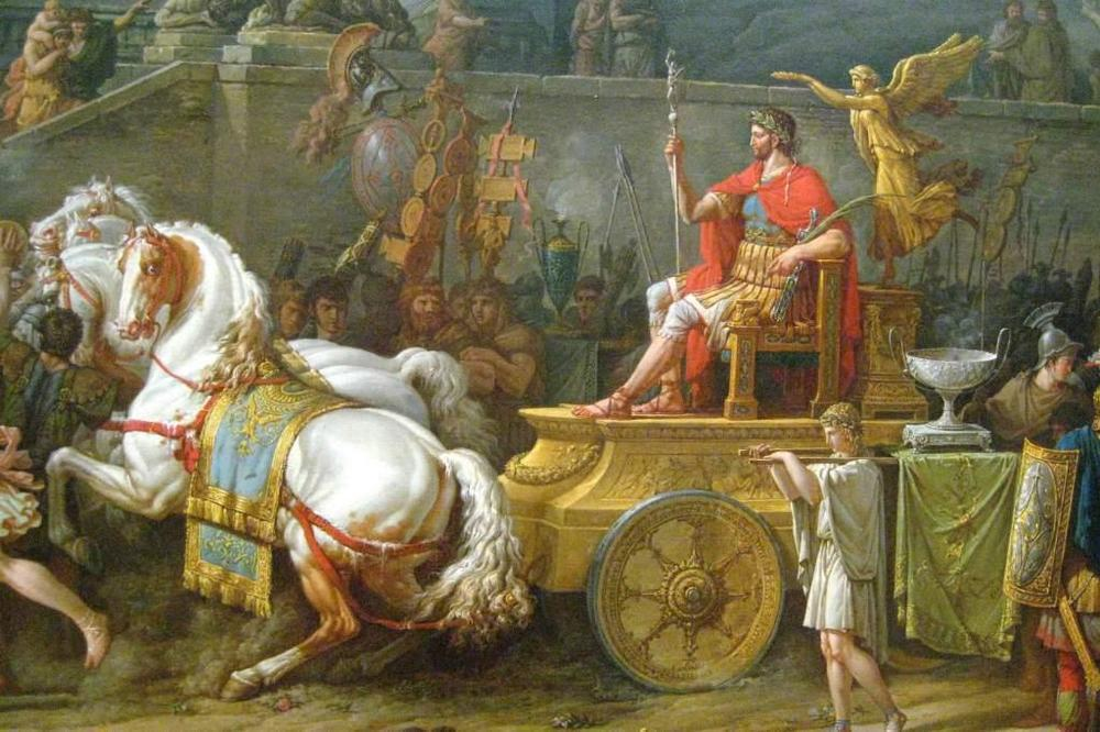A detail of Venet's painting, showing Aemilius Paullus in his chariot and the horses that reminded me of the riderless horse in the Delphi frieze, shown below.