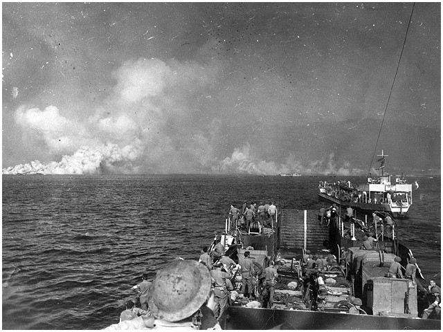 Red Beach sector, Cavalaire Bay, Operation Dragoon, 15 August 1944. Another view from the same sequence as the previous image showing British-manned landing craft making their way to shore. These are LCMs (Landing Craft Mechanized), and since Empire Elaine was the only specialised LCM carrier in Convoy SM 1C these could well have been among the LCMs that she transported to the landings.