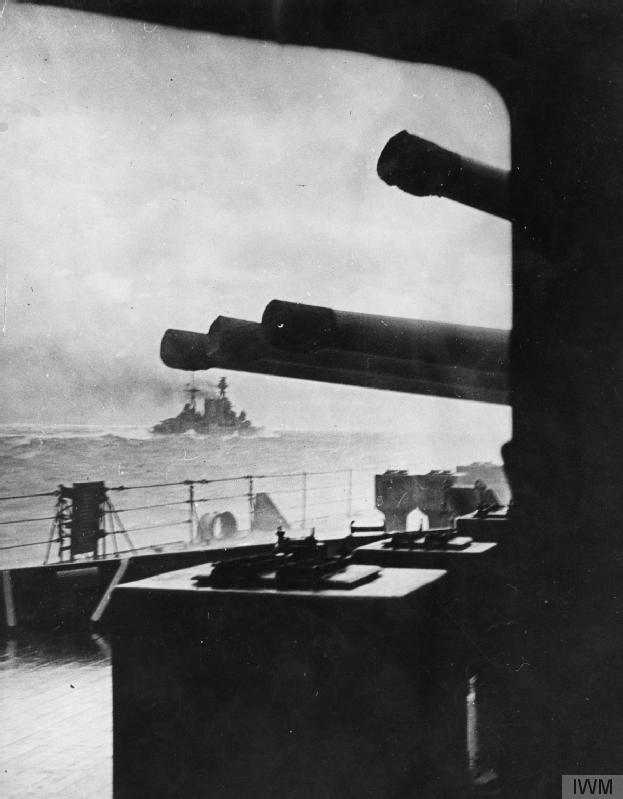 The last certain photo of HMS  Hood , taken from HMS  Prince of Wales  on the morning of 24 May 1941 shortly before Hood blew up and sank with all but three of her 1,418 crew (Imperial War Museum, HU S0190).
