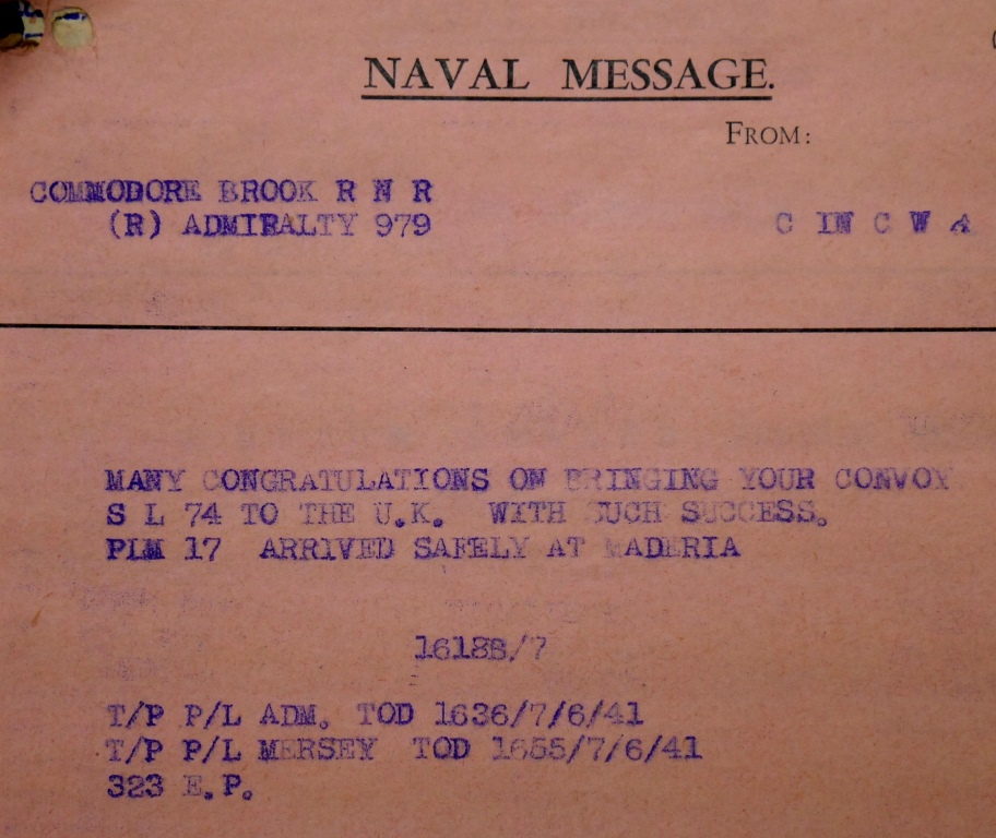 Convoy SL-74, UK National Archives, ADM 237/1187).