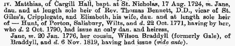 An extract from Burke's Family Records (1894) on the Gale family, showing Matthias. The same pedigree shows his descent from John Gale (born 1641), the first of the Whitehaven Gales, and also the descent from Matthias' brother John to my great-grandmother, Helen Mary Gale (born 1881). You can see the entire pedigree on Ancestry.co.uk.