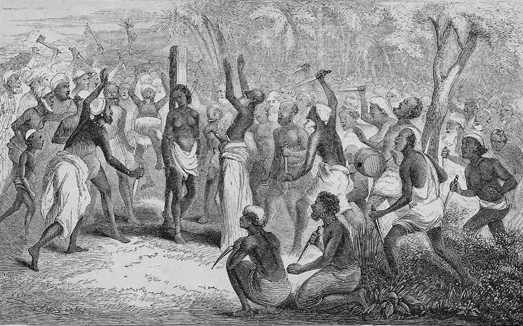 A woodcut from John Campbell's  A Personal Narrative of Thirteen Years Service amongst the Wild Tribes of Khondistan for the Suppression of Human Sacrifice , published in 1864.