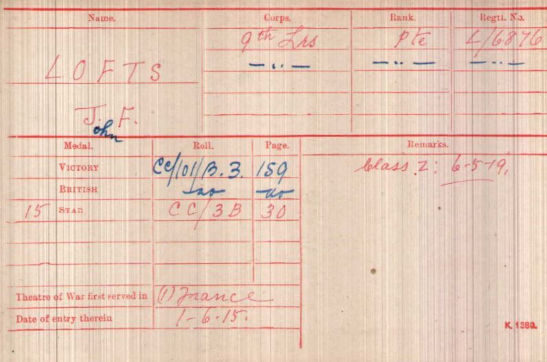 Medal Card of Private J.F. Lofts showing the award of the three campaign medals (Victory Medal, War Medal and 1915 Star), his date of first arrival in France of 1 June 1915 and his transfer to army reserve ('Class Z') on 6 May 1919 (UK National Archives,  WO 372/23/134514 ).
