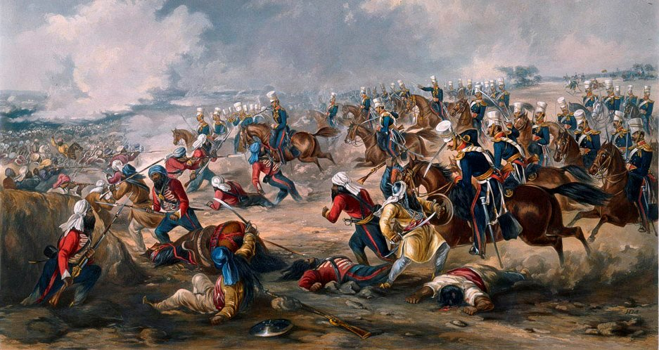 This famous image of the charge of the 14th Light Dragoons at the Battle of Ramnuggur in 1848 - in which the commanding officer, Colonel Havelock, and 11 of his troopers were killed - is the only contemporary depiction of the regiment in action during the Punjab War or the Indian Mutiny (coloured aquatint by J. Harris after H. Martens, published by Rudolf Ackermann, 26 January 1851; this example in the  National Army Museum ).