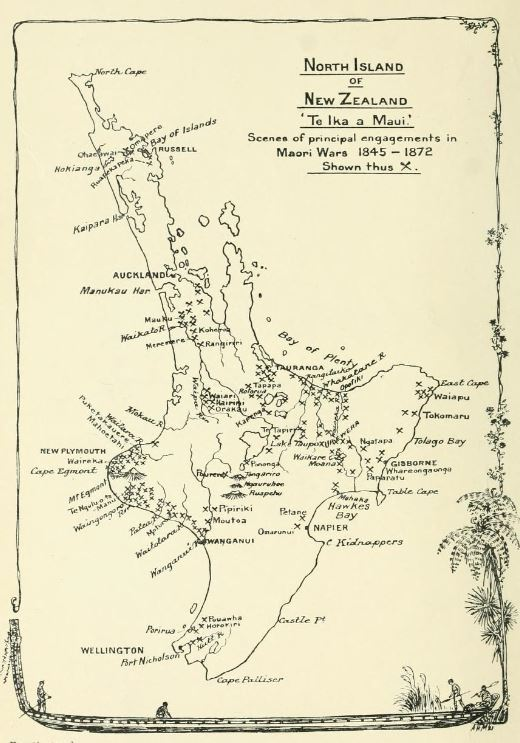 A map of the North Island of New Zealand from the James Cowan's   The New Zealand Wars: a History of the Maori campaign and the Pioneering Period   (1922), showing Hawke's Bay, the town of Napier, the site of the battle at Ommaruni, and Cape Kidnappers, the location of Clifton Station.
