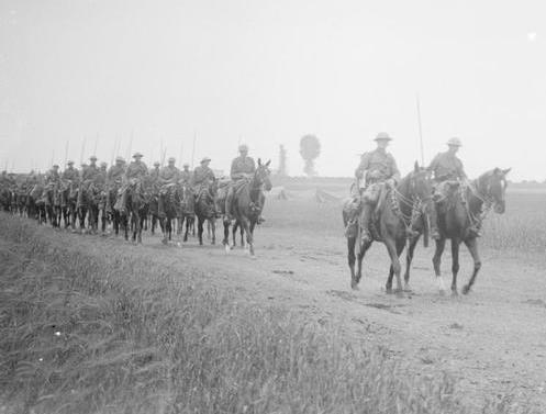British army lancers - the regiment unidentified, but very possibly the 9th Lancers -  on the move on a side track off the Albert-Amiens road, July 1916 (photo: Lt John Warwick Brooks, Imperial War Museum (IWM) Q 4054).